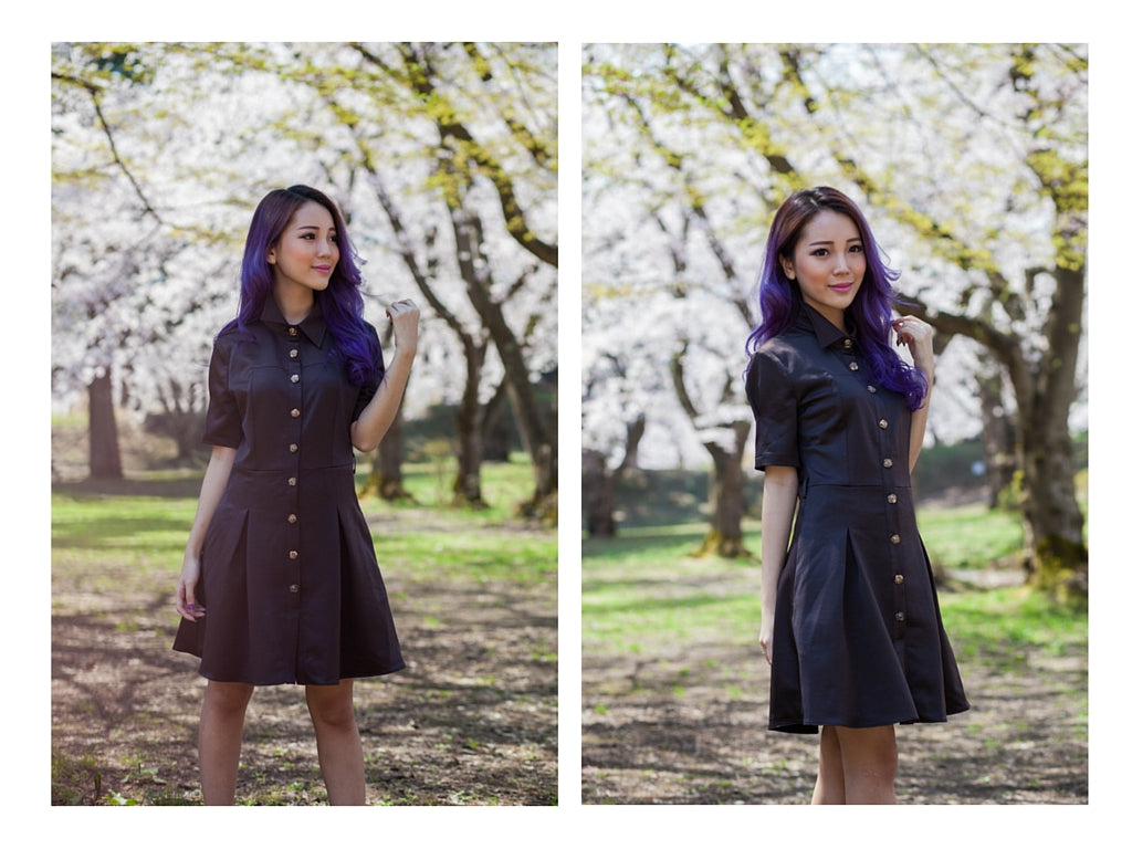 chocolate dream, chocolate dress with rose buttons, day & night, work & play, chic elegance