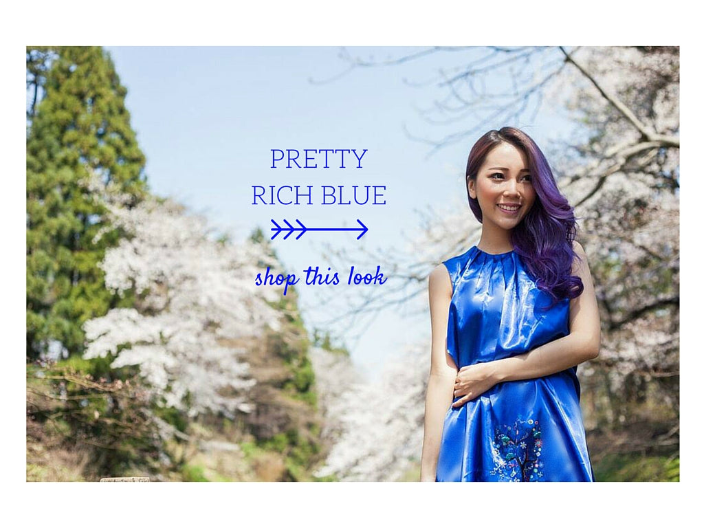 pretty rich blue, dress with gathered neckline, sweet feminine chic