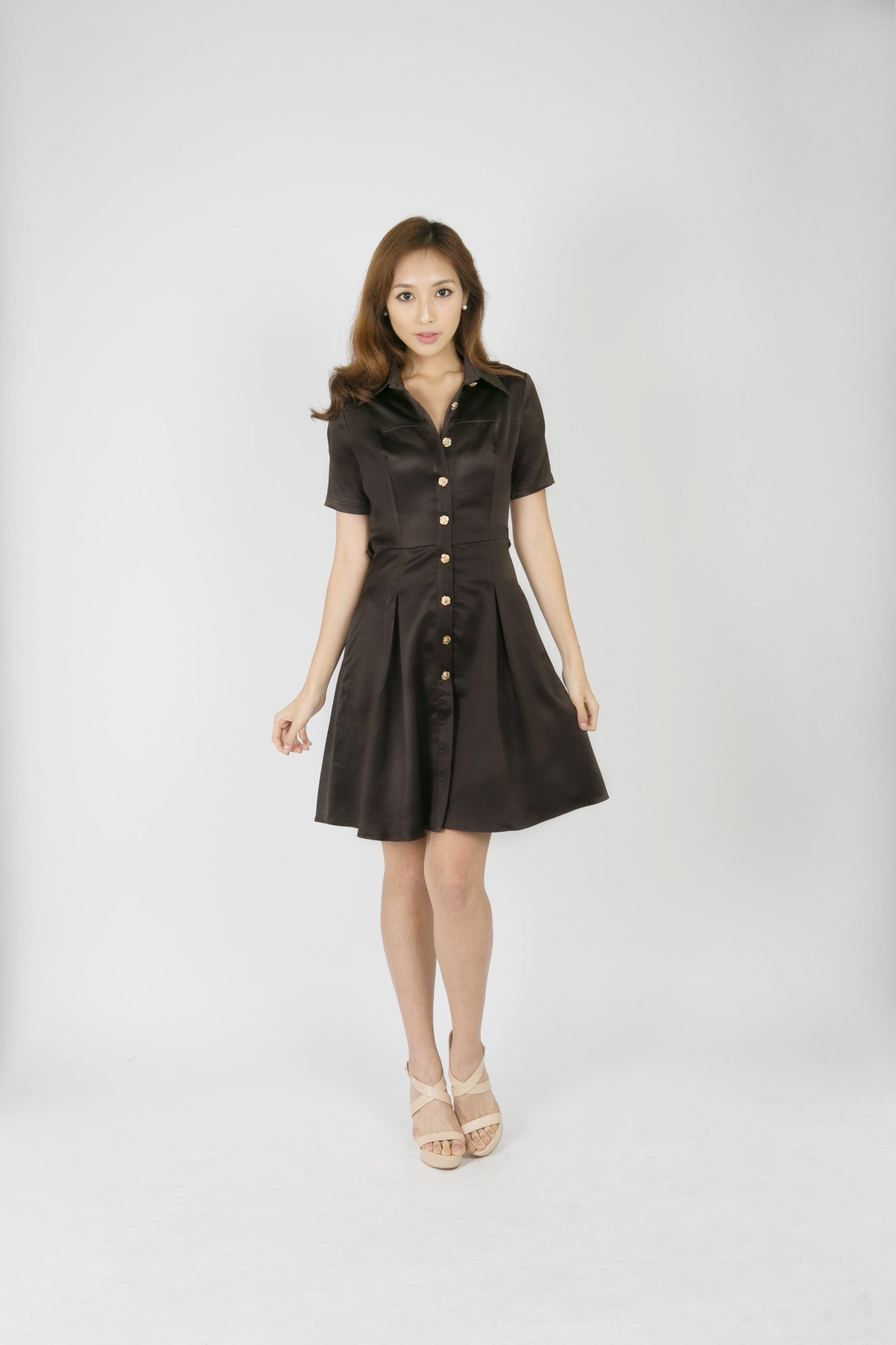 Chocolate Dress with Rose Buttons