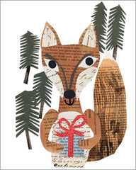 fox with a package paste art collage note card by denise fiedler for paste