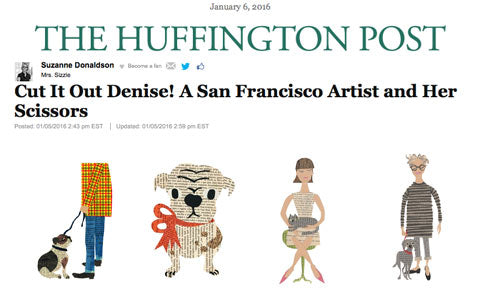 The Huffington Post's Mrs Sizzle by Suzanne Donaldson featuring Denise Fiedler's art collage of people and thier pets