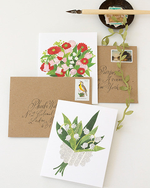 variety of floral paste vintage paper collage kraft envelopes and printed A2 folding greeting cards 4.25 by 5.5 inches, designed by denise fiedler of pastesf and printed on recycled paper