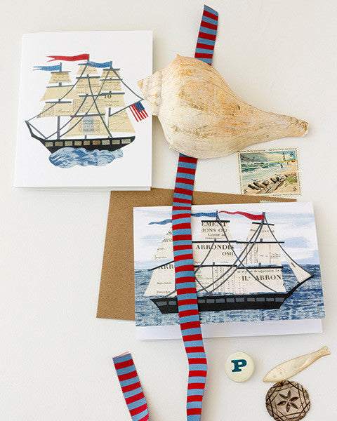 variety of nautical paste vintage paper collage kraft envelopes and printed A2 folding greeting cards 4.25 by 5.5 inches, designed by denise fiedler of pastesf and printed on recycled paper