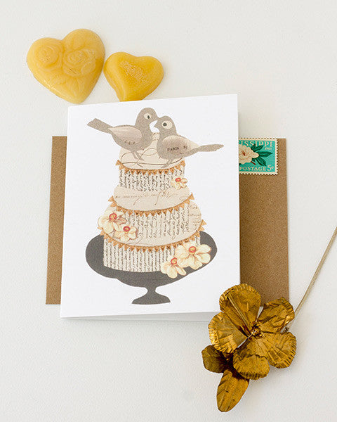 wedding cake paste vintage paper collage kraft envelopes and printed A2 folding greeting cards 4.25 by 5.5 inches, designed by denise fiedler of pastesf and printed on recycled paper