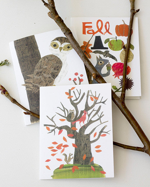 variety of paste vintage paper collage printed A2 folding greeting cards 4.25 by 5.5 inches, designed by denise fiedler of pastesf and printed on recycled paper