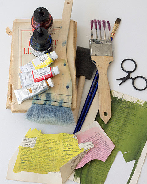 variety of paste vintage paper collage tools used by denise fiedler of pastesf