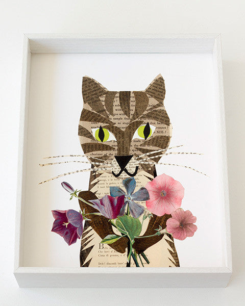 an example of a framed paste vintage paper art collage art print of a cat with flowers created and designed by Denise Fiedler for paste