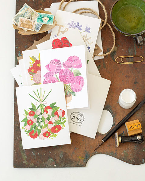 celebrating writing and sharing paste vintage paper collage printed A2 folding greeting cards,  4.25 by 5.5 inches, designed by denise fiedler of pastesf and printed on recycled paper