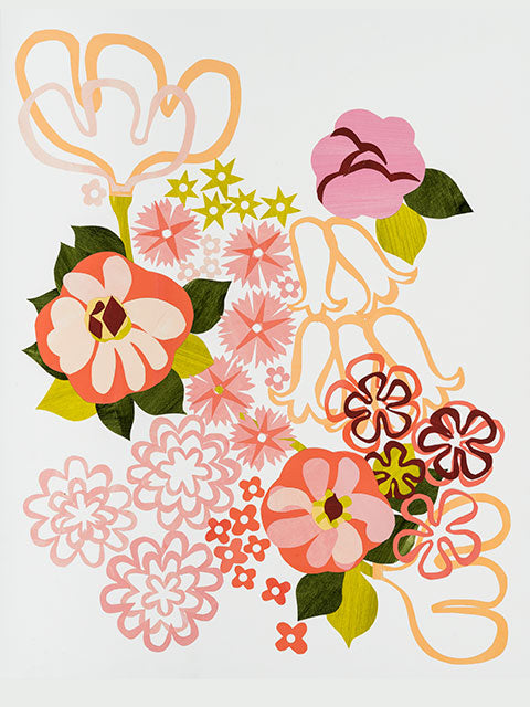 Giclée print - Floral Abstract - Corals and Oranges