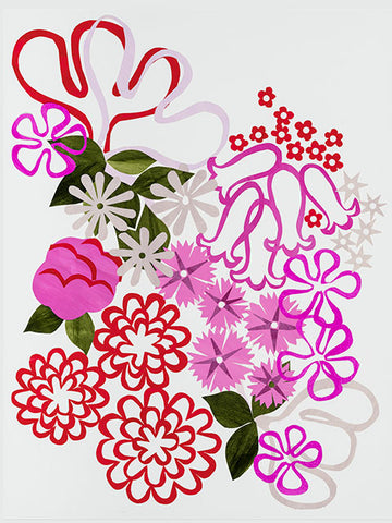 Giclée print - Floral Abstract - Pinks and Reds