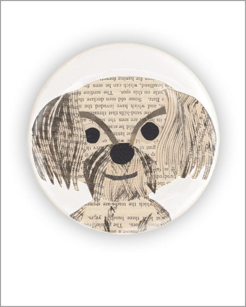 bichon unique vintage paper collage art printed 2.25 inch diameter round pocket mirror designed by denise fiedler of pastesf and made in USA