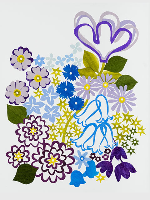 Giclée print - Floral Abstract - Blues and Violets