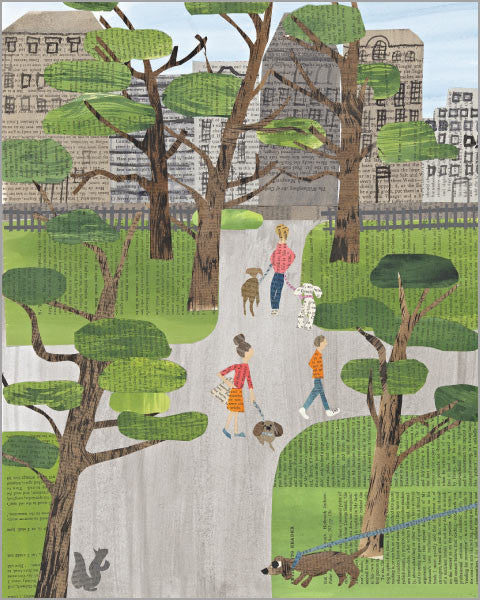 central park paper collage printed 11x14 inch giclée art print, produced with highest quality archival paper and inks, designed by denise fiedler of pastesf
