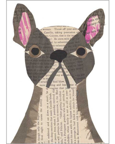 frenchie original paste art collage piece on 100% cotton board by denise fiedler