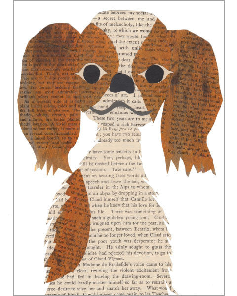king charles spaniel original paste art collage piece on 100% cotton board by denise fiedler