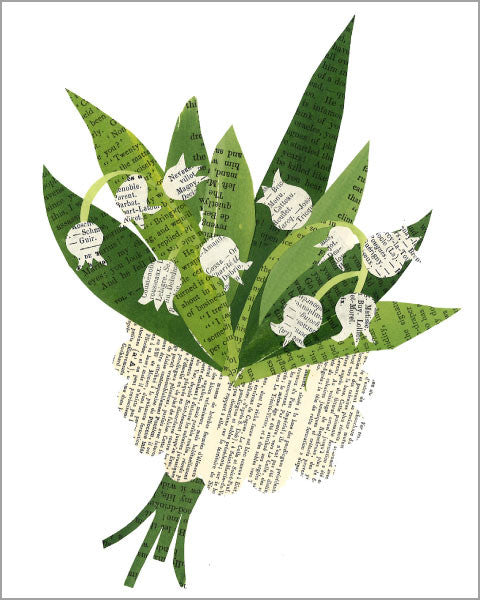 lily of the valley vintage paper collage printed 8x10 inch art print, produced with archival quality paper and inks, designed by denise fiedler of pastesf