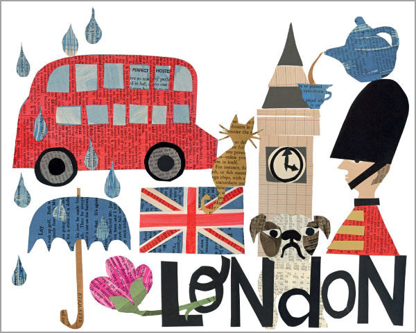 city of london paper collage printed 11x14 inch giclée art print, produced with highest quality archival paper and inks, designed by denise fiedler of pastesf