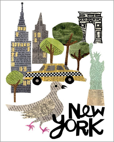 new york city paper collage printed 11x14 inch giclée art print, produced with highest quality archival paper and inks, designed by denise fiedler of pastesf
