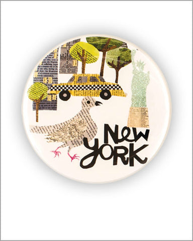 new york city paper collage art printed 2.25 inch diameter round pocket mirror designed by denise fiedler of pastesf and made in USA