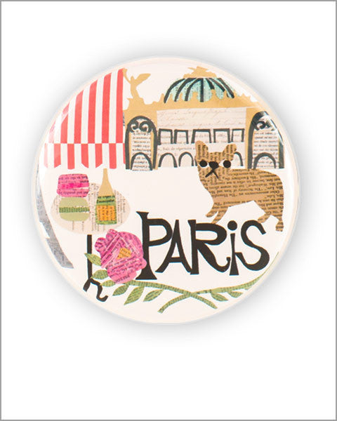 paris paper collage art printed 2.25 inch diameter round pocket mirror designed by denise fiedler of pastesf and made in USA
