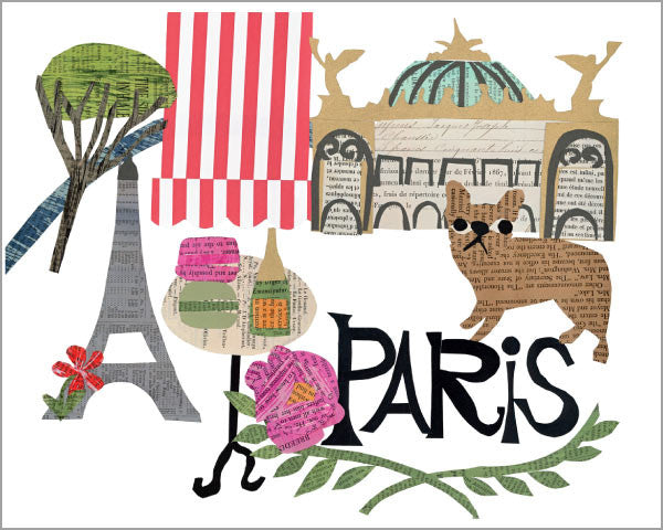 city of paris paper collage printed 11x14 inch giclée art print, produced with highest quality archival paper and inks, designed by denise fiedler of pastesf