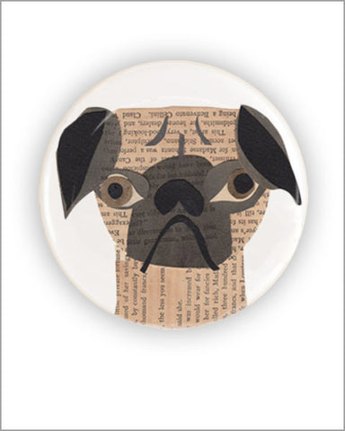 pug unique vintage paper collage art printed 2.25 inch diameter round pocket mirror designed by denise fiedler of pastesf and made in USA