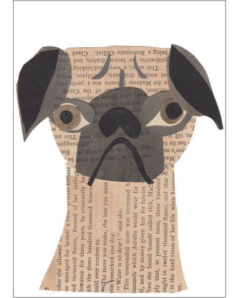 pug original paste art collage piece on 100% cotton board by denise fiedler