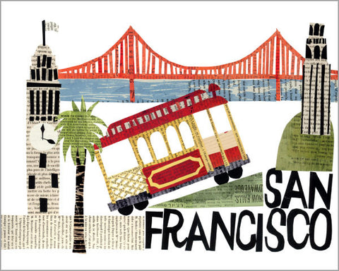 city of san francisco paper collage printed 11x14 inch giclée art print, produced with highest quality archival paper and inks, designed by denise fiedler of pastesf