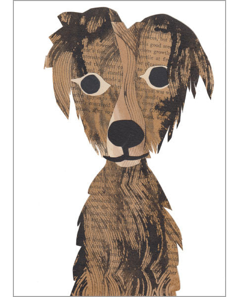 scruffy dog original paste art collage piece on 100% cotton board by denise fiedler