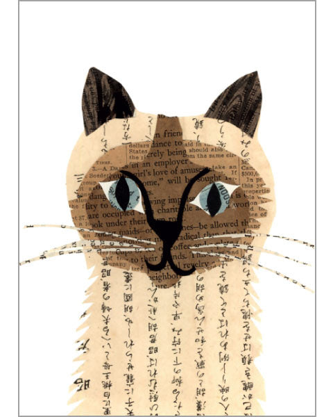 siamese cat original paste art collage piece on 100% cotton board by denise fiedler