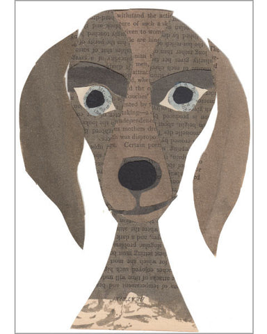 weimaraner original paste art collage piece on 100% cotton board by denise fiedler