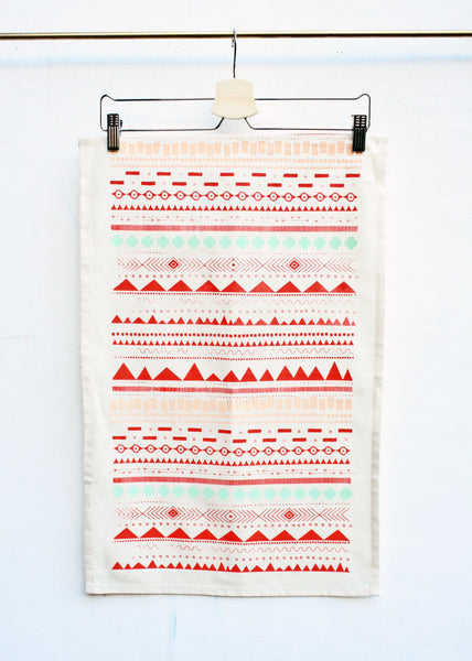Geo Print • Hand Printed Tea Towel - LET'S STAY IN