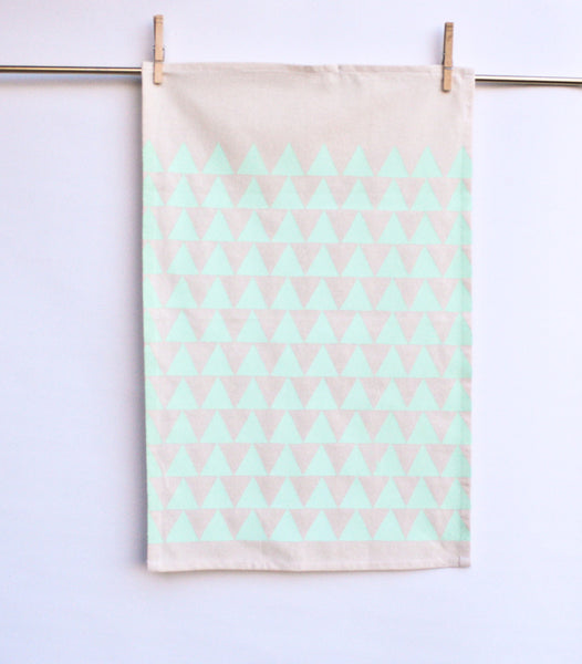 Mint Mountains • Hand Printed Tea Towel - LET'S STAY IN