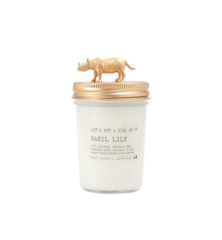 Gold Rhinoceros • 8 oz Vegan Candle