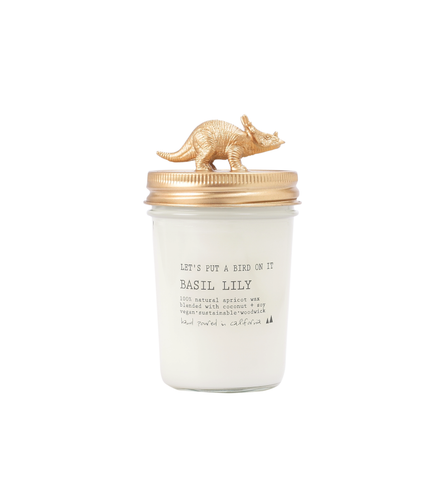 Gold Triceratops • 8 oz Vegan Candle