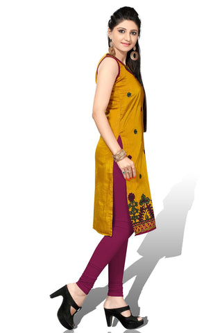 Mustard Color Cotton Silk Designer top with  Short Sleeves