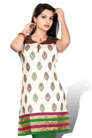 Indian Kurti_Cream & Multi_Embroidery_6