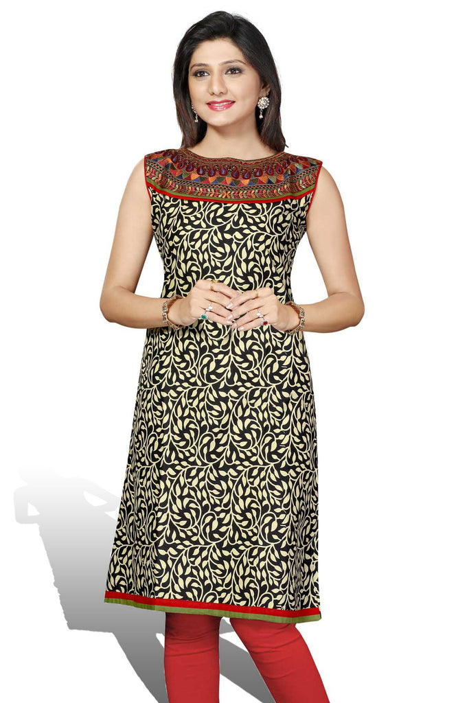 Black & Red Cotton Long Embroidery Designer Kurti with short sleeves