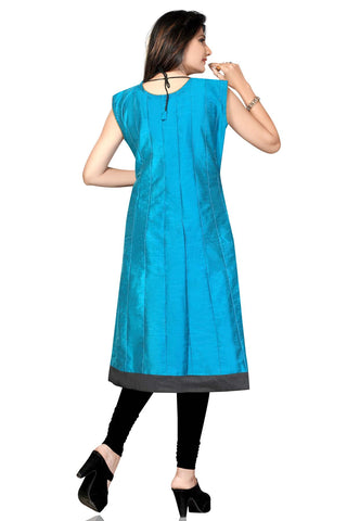 Party Wear Black & Blue Long Cotton Silk Designer Kurti with short sleeves