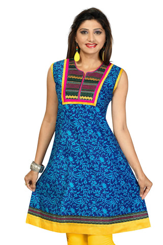 Indian Kurti_Blue_Embroidery_1