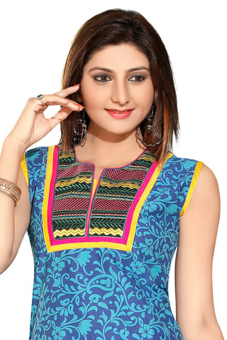 Indian Kurti_Blue_Embroidery_4