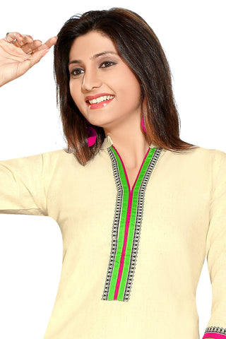 Indian Kurti_Cream_Printed_4