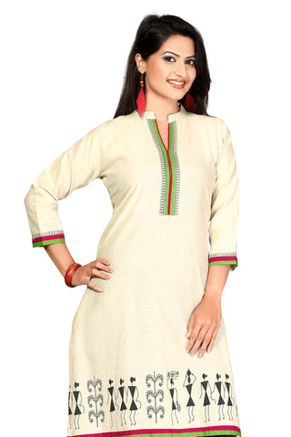 Indian Kurti_Cream_Printed_5