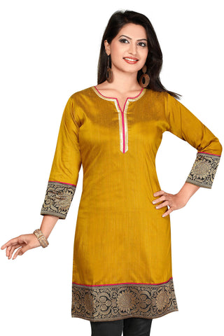 Mustard Color  Designer Kurti with  sleeves
