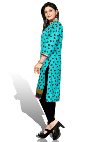 Indian Kurti_Blue_Printed_4