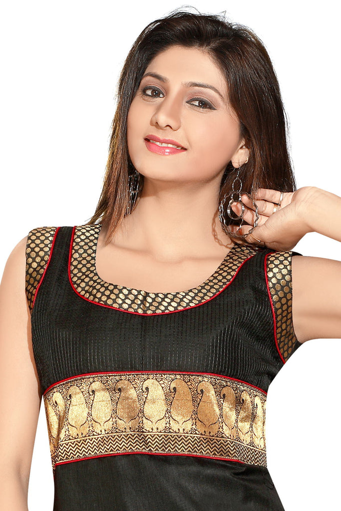 Black Cotton Designer Kurti with Gold Zari with Red border