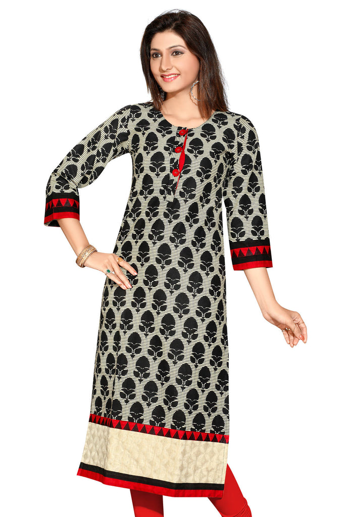 c9362ff3d3db Black with Cream long Cotton Designer Kurti with 3 4 sleeves ...