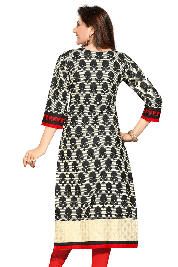 Black with Cream long Cotton Designer Kurti with 3/4 sleeves