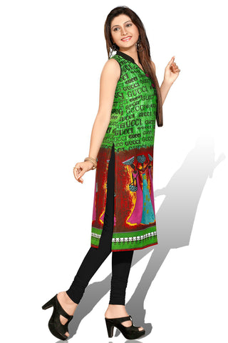 Indian Kurti_Green & Multi_Printed_3