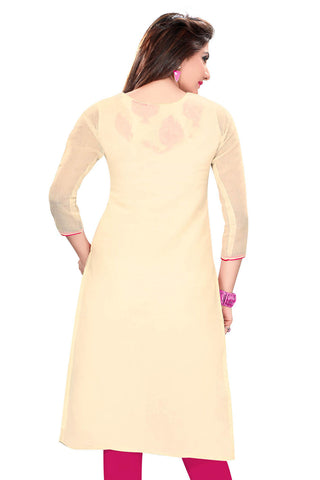Cream with Pink Chanderi  Silk Kurthi